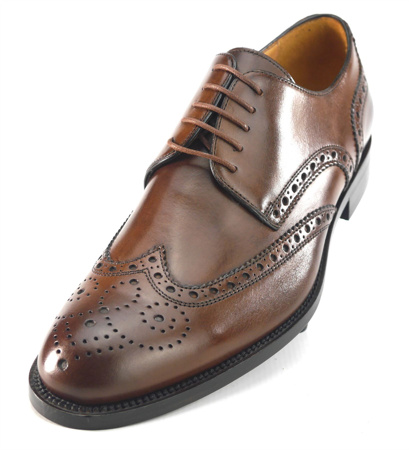 98cd5fa9848 Mercanti Fiorentini Mens Lace Up All Leather Brogue Oxford Cap Brown Shoes